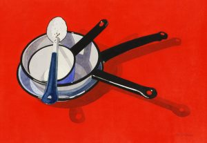 'Pots and Pan on Red', Marjorie Collins, Watercolour, 57 x 73 x 2 cm