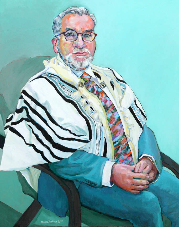'Rabbi Mark Solomon', Claire Elizabeth Jackson, Oil on canvas, 100 x 80 x 4 cm