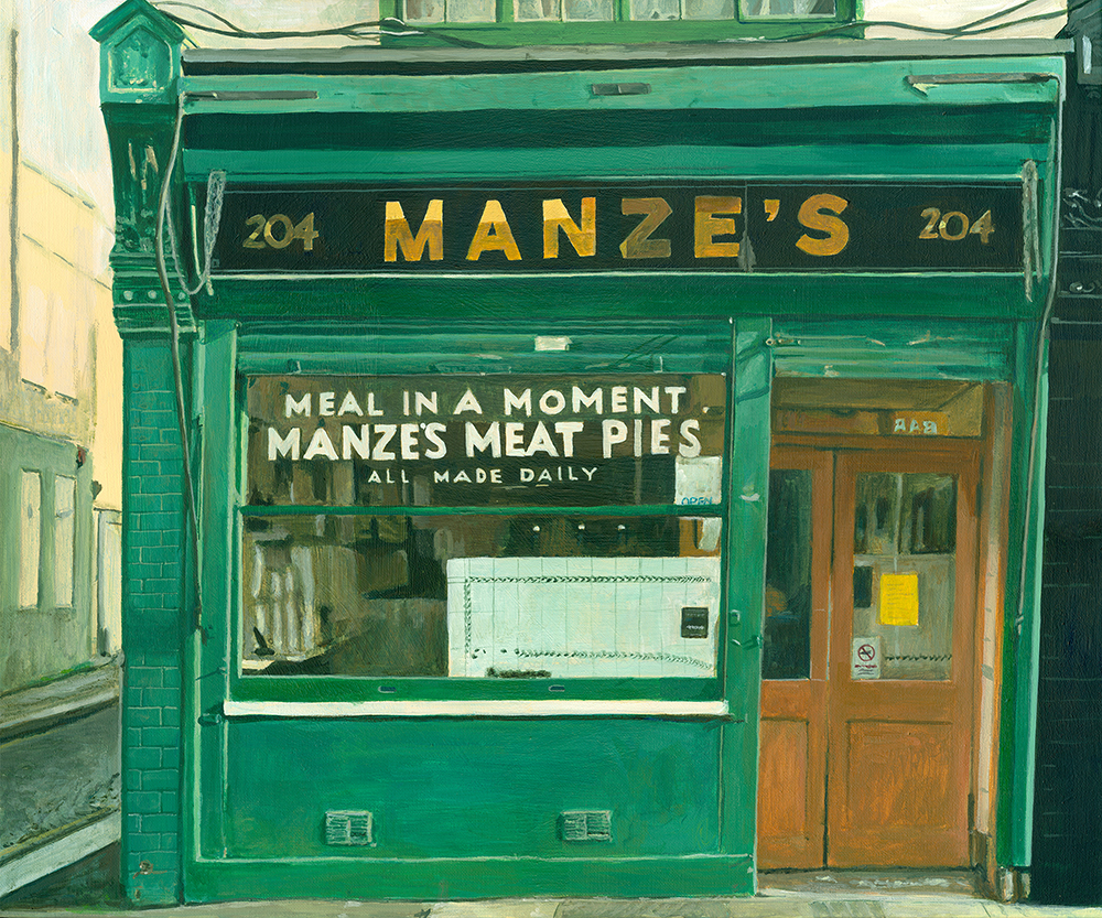 'Manze's Meat Pies', Michelle Heron, Acrylic on canvas, 50 x 60 x 2 cm