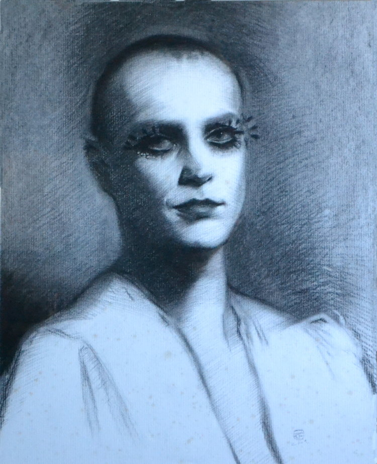'Miss Lucy', Kit French, Charcoal on paper, 57 x 46 cm