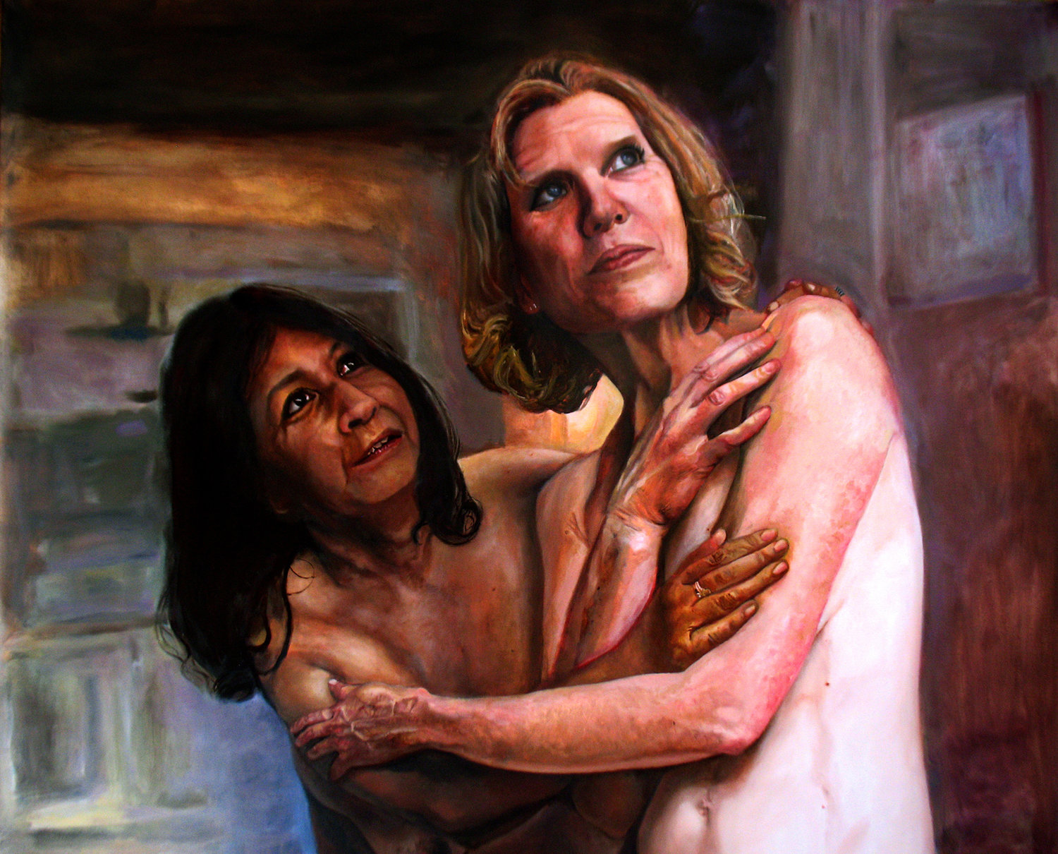 'Lola and Karima 3', Natalia Glinoer, Oil on linen, 174 x 143 x 3 cm