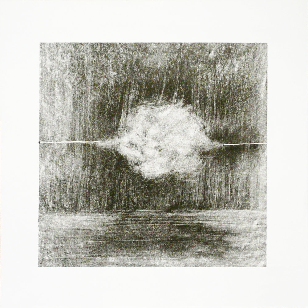 'Monocloud II', Olga Parfenova, Monotype, ink on paper, 30 x 30 cm