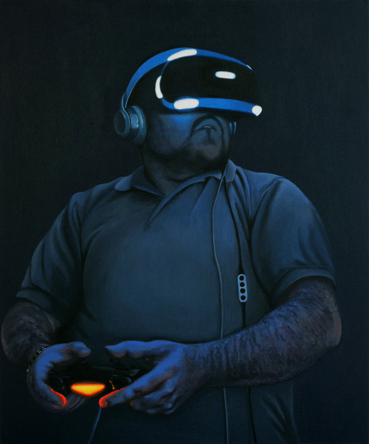 'VR Zombie', Peter Davis, Acrylic on board, 61 x 51 x 1 cm