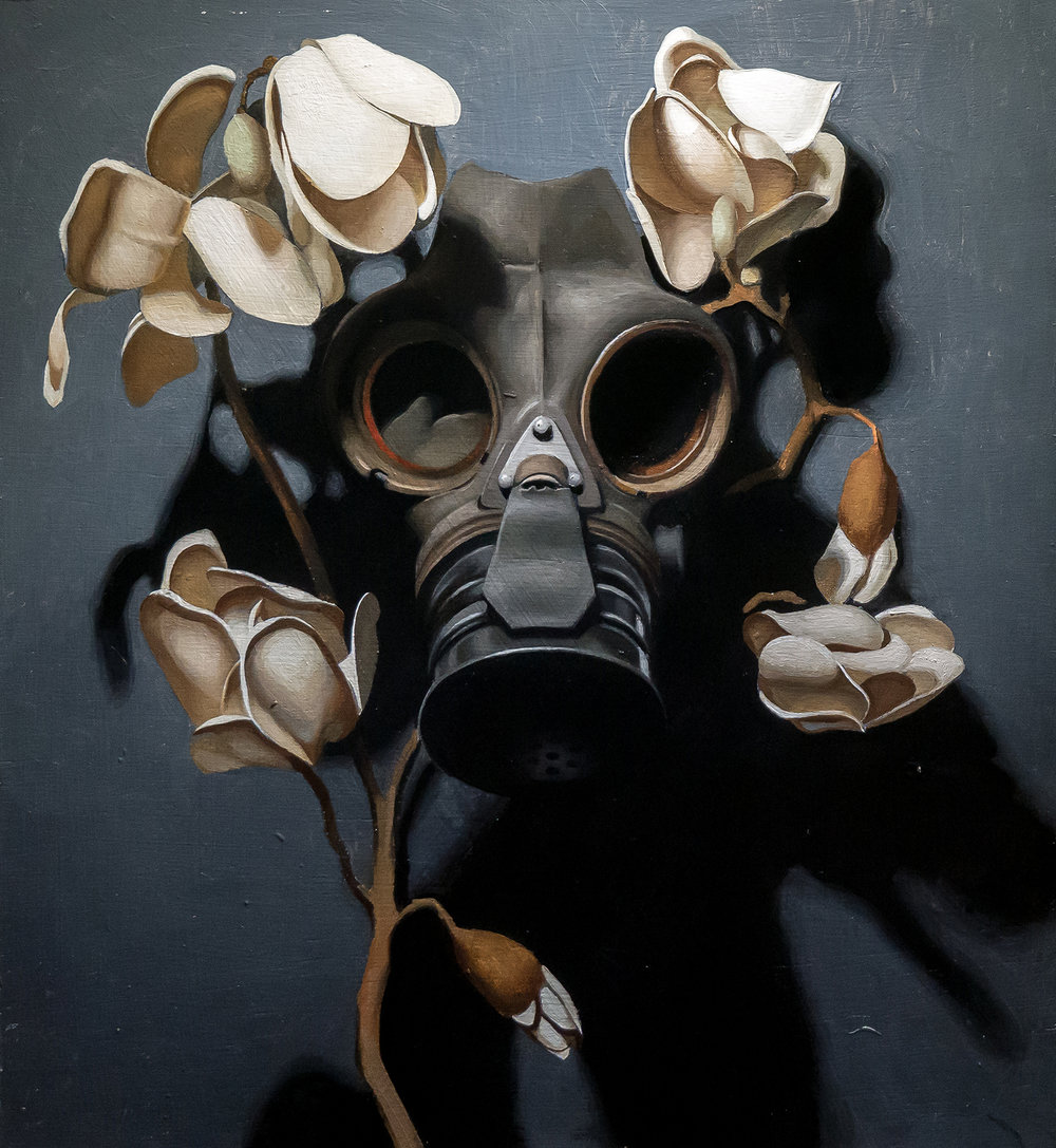 'Pale Carnage', Kieran Ingram, Oil on panel, 36 x 40 x 3 cm