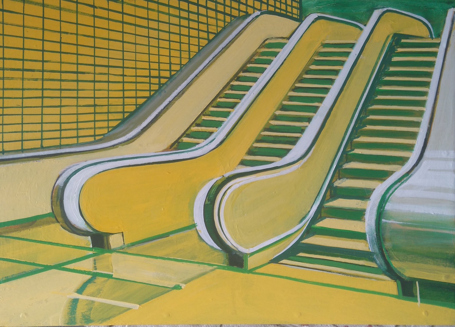 'Yellow Escalator', Paul Crook, Acrylic on panel, 21 x 30 cm