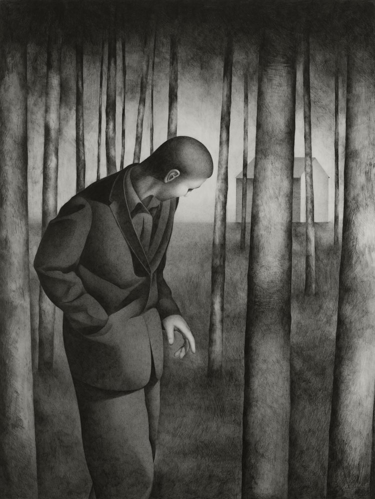 'Man Walking in a Wood', Paul Hogg, Pencil on paper, 79 x 60 cm