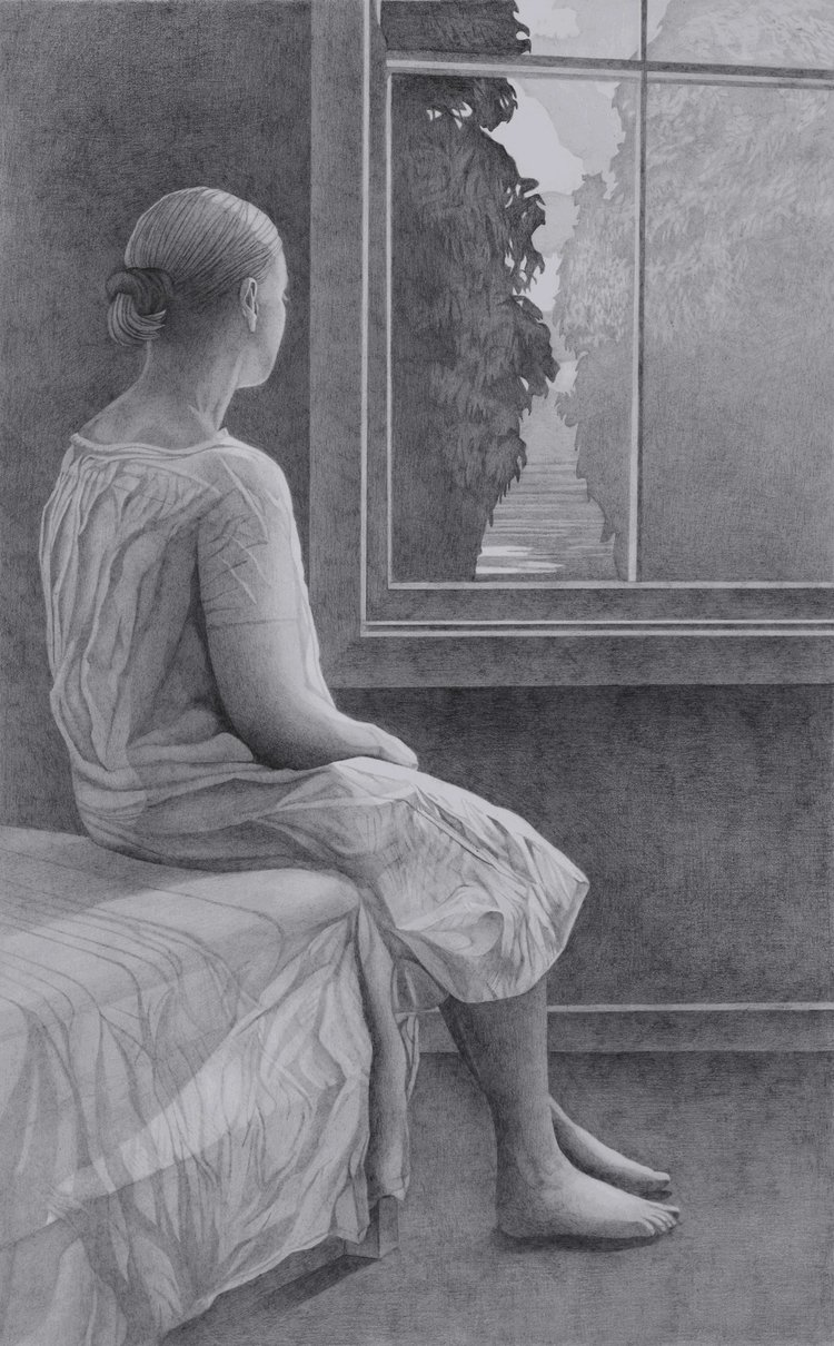 'Woman at a Window', Paul Hogg, Pencil on paper, 54 x 34 cm