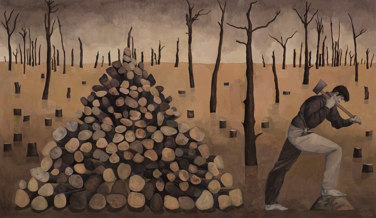 'Woodcutter', Paul Hogg, Gouache on paper, 46 x 80 cm