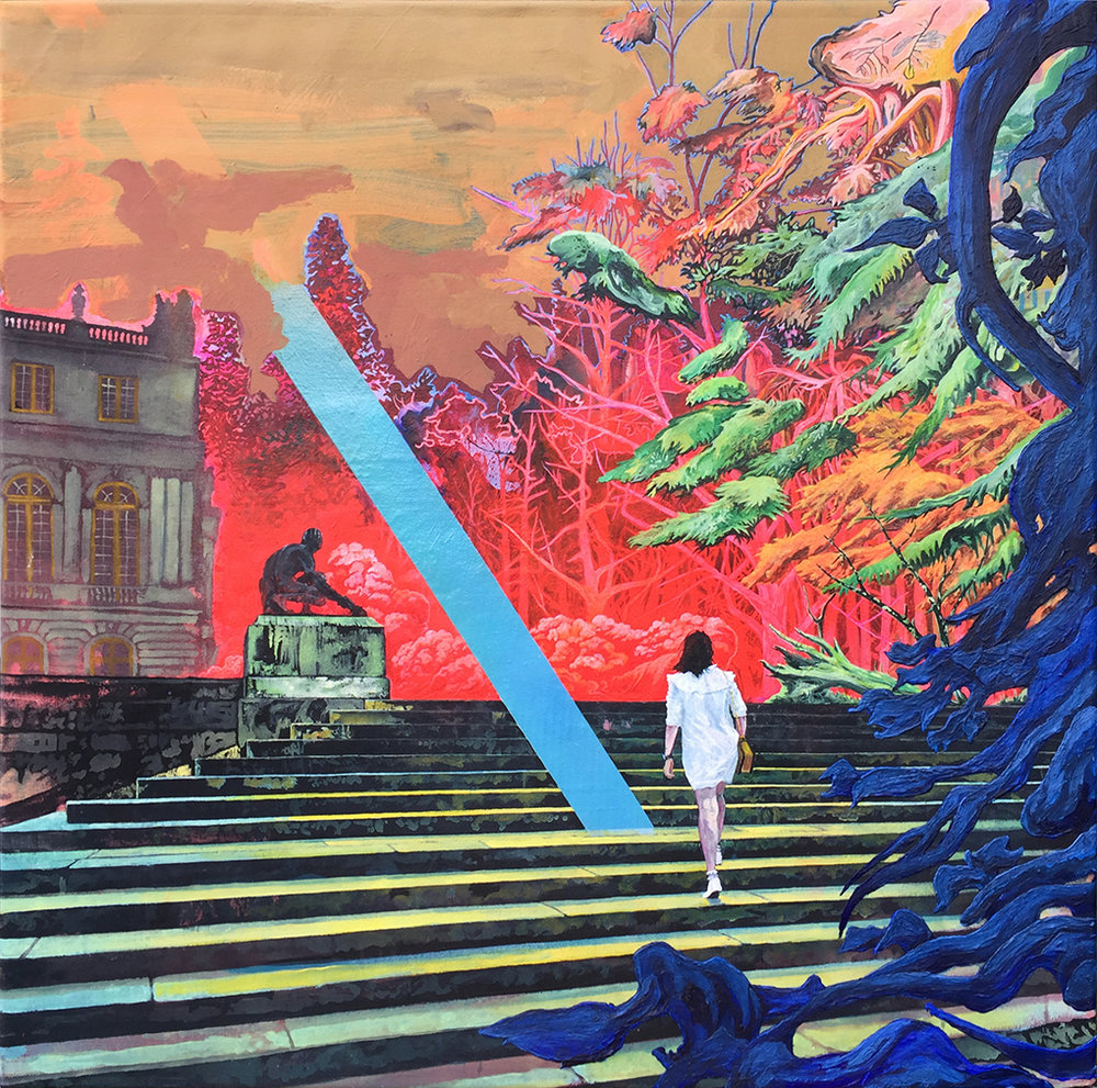 'Up Steps', Rene Gonzalez, Acrylic and spray paint on canvas, 90 x 90 x 2 cm