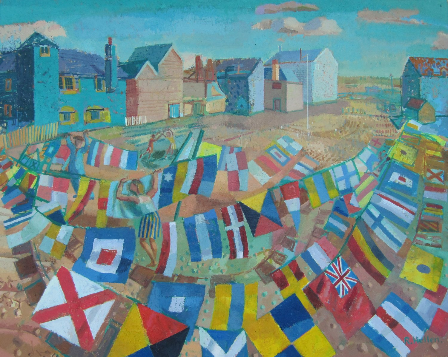 'Drying Flags on the Foreshore, Rye, Sussex', Ronald Hellen, Oil, 61 x 77 x 3 cm