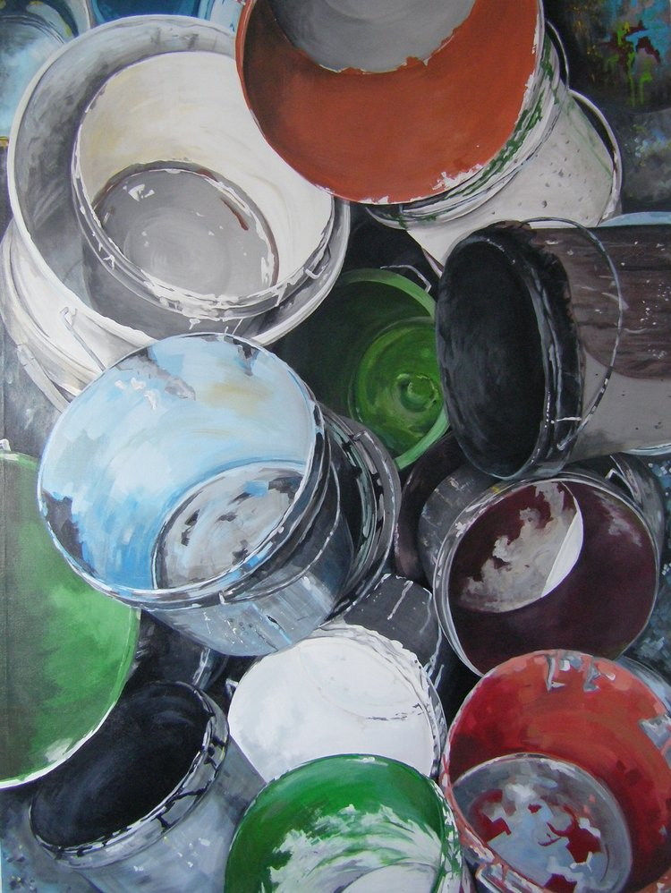 'Paint Pots', Rory Davis, Acrylic on canvas, 200 x 149 x 4 cm