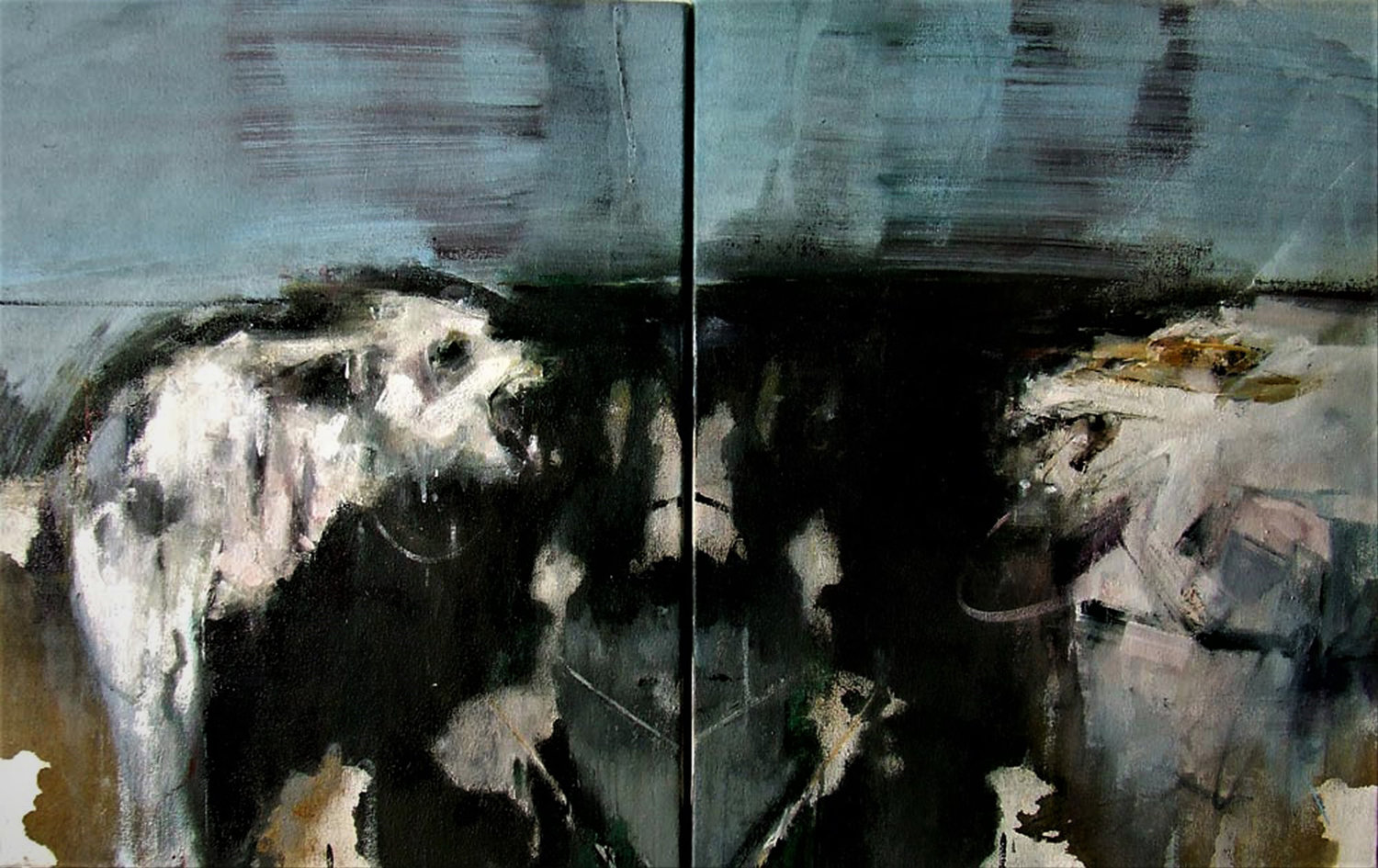 'Rorschach series - Selfie', Sarah Shaw, Diptych - Oil on canvas, 58 x 94 x 5 cm