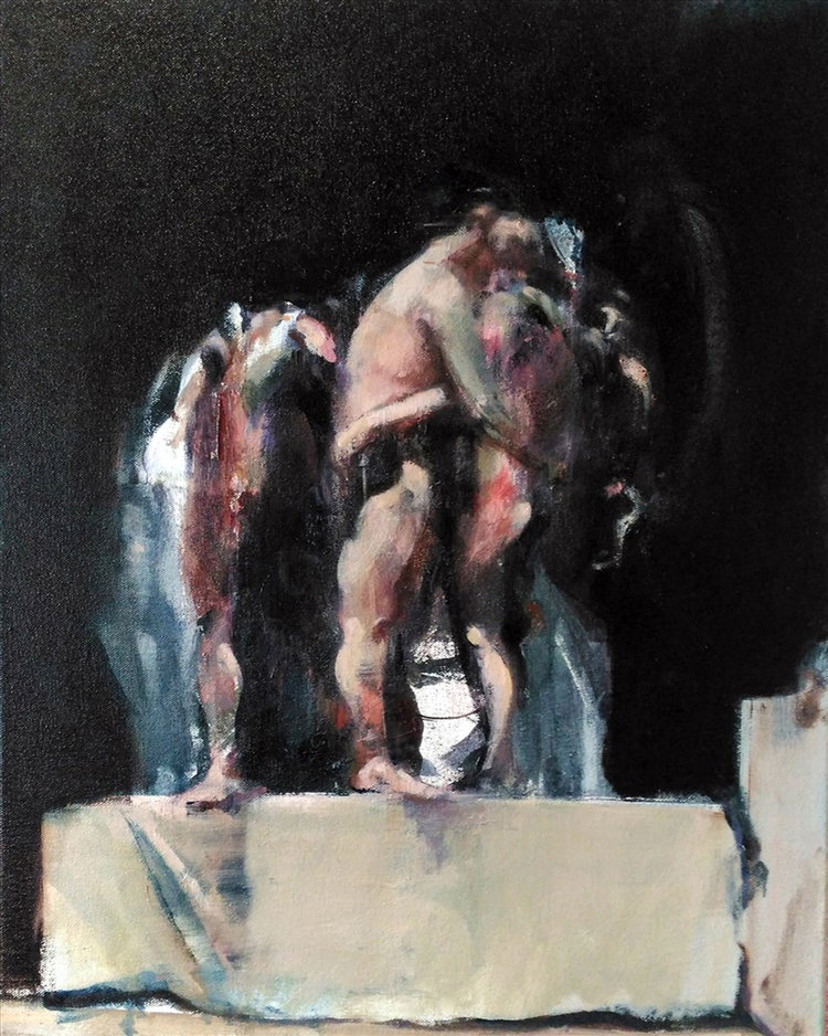 'The Waiting', Sarah Shaw, Oil on linen, 50 x 45 x 2 cm