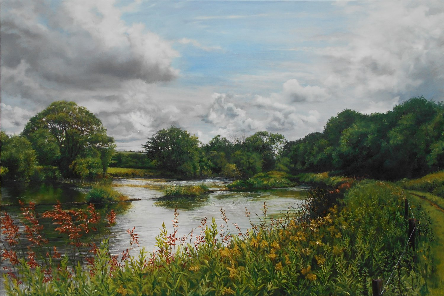 'The weir on the river Suir', Sarah Corner, Oil on linen canvas, 50 x 76 x 2 cm