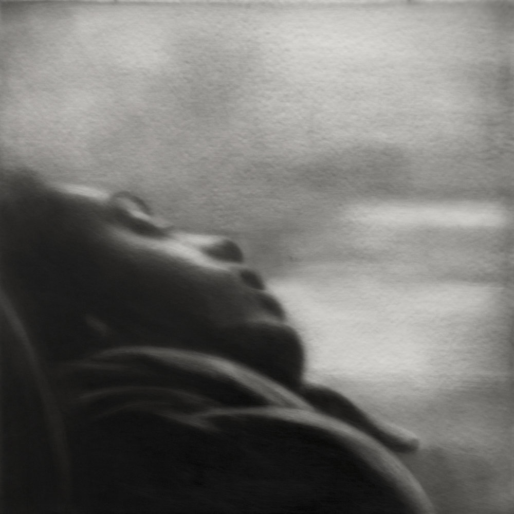 'Sleeping Woman', Sarah Leahy, Black India ink painted onto the surface of sanded plexiglass, 30 x 30 cm