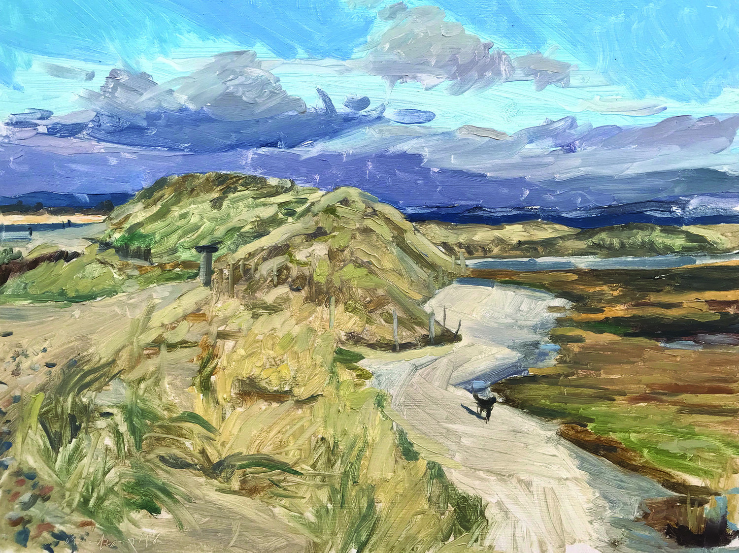'Dog on the path, East Head', Sarah Manolescue, Oil on panel, 30.5 x 40.5 cm