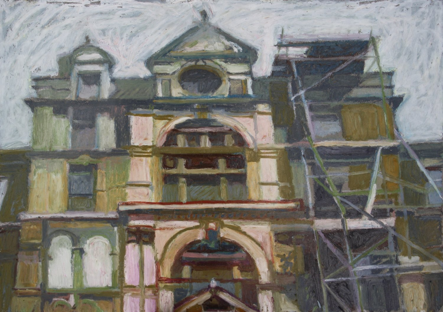'Coal Exchange east entrance', Sebastian Aplin, Oil pastel on paper, 30 x 42 x 3 cm
