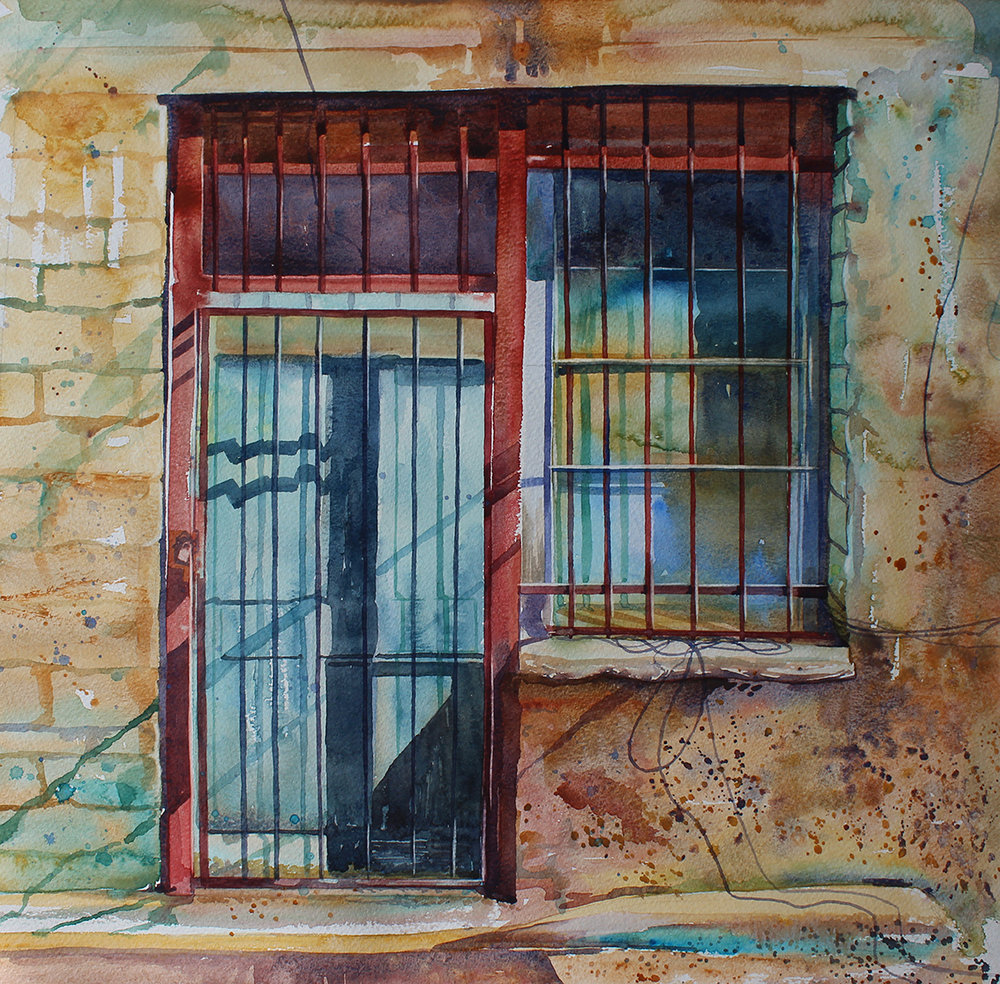 'All Locked Up', Sophie Penstone, Watercolour on paper, 40 x 40 cm