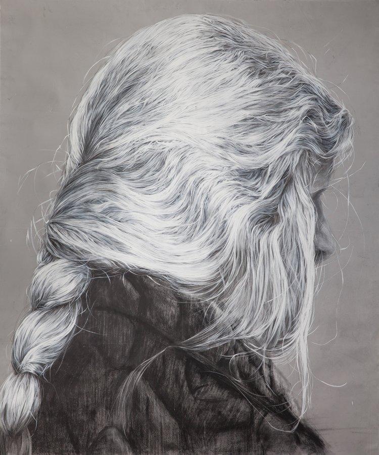 'Hair 14', Jovanka Stanojevic, Acrylic, dry pastel on paper, 165 x 130 cm