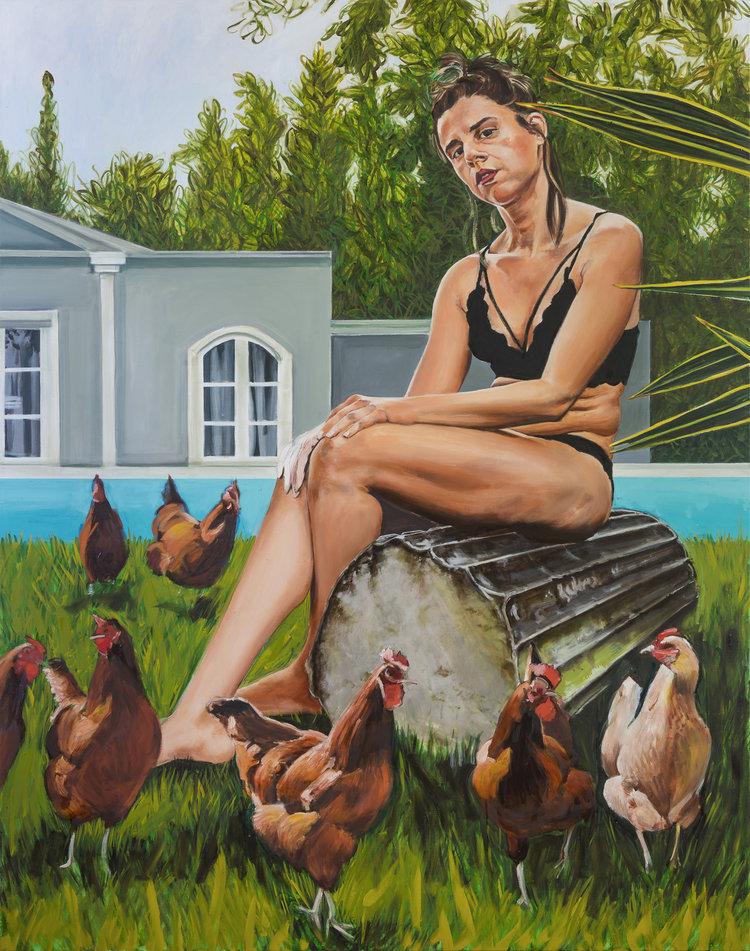 'Penelope's wait', Stella Kapezanou, Oil on linen, 180 x 140 x 4 cm