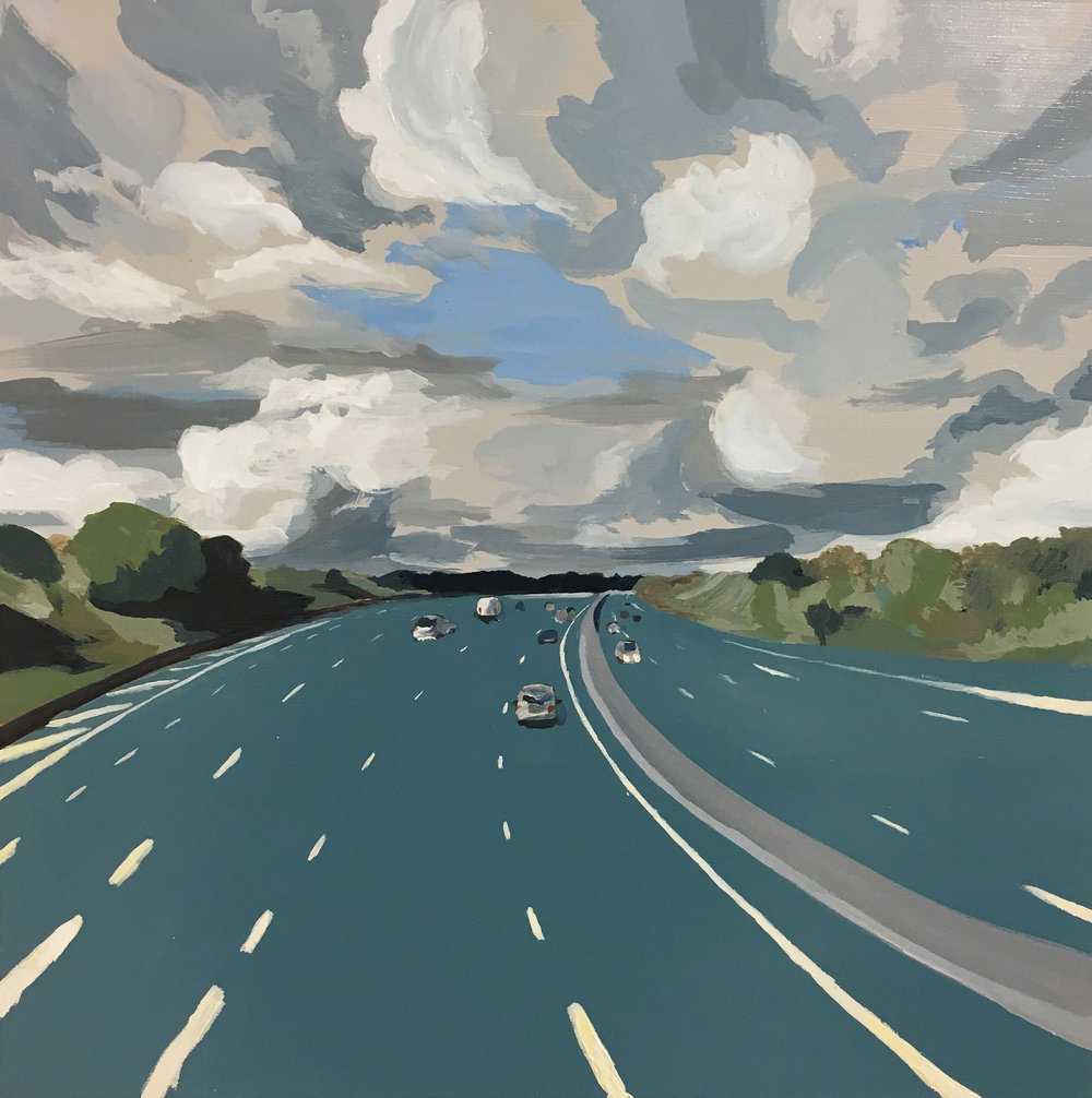 'Storm on m25', Francesco Poiana, Acrylic on wood, 40 x 40 cm