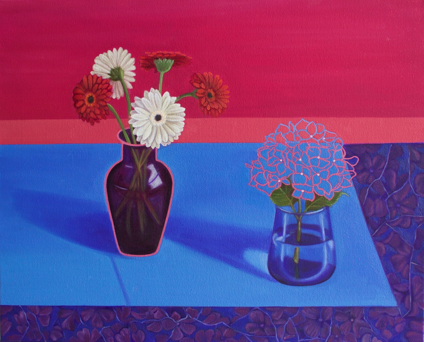 'Gerberas & Hydranger', Suzanne Kemplay, Oil on canvas, 40 x 50 x 1 cm