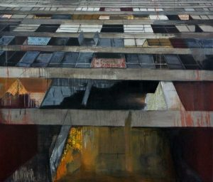 'Slanted Grenfell', Teresa Ward, Oil paint and printed paper on canvas, 182 x 213 x 5 cm