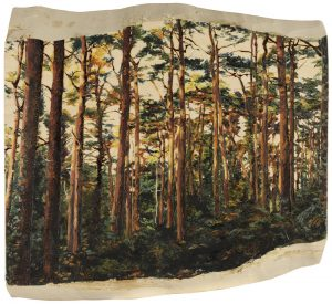 'Pine Forest', Tilia Holmes, Pyrography and oil on wood, 27 x 30 x 3 cm