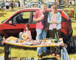 'Car boot sale', Trevor Burgess, Oil on board, 91 x 115 x 3 cm