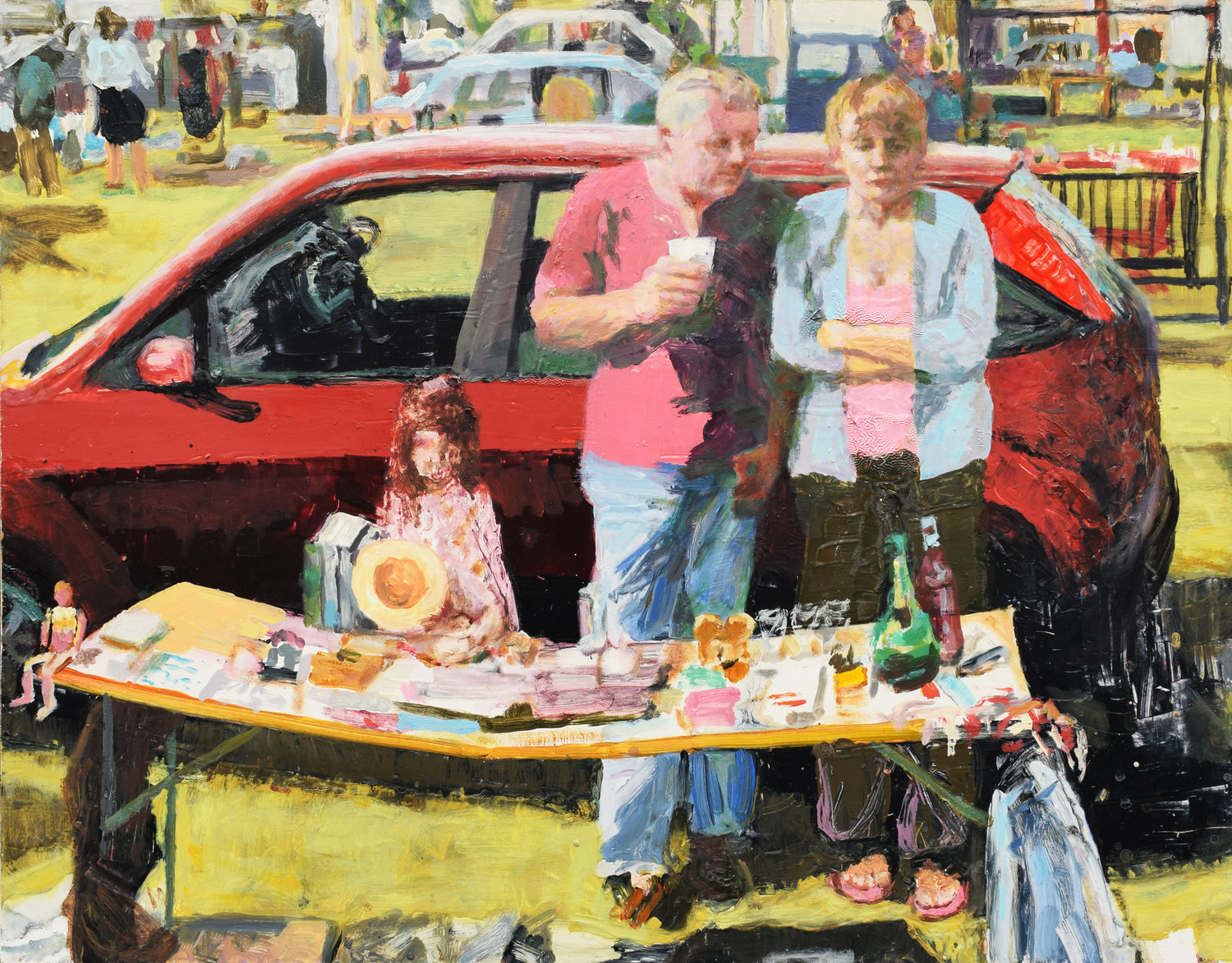 'Car boot sale', Trevor Burgess, Oil on board, 91 x 115 x 3 cm