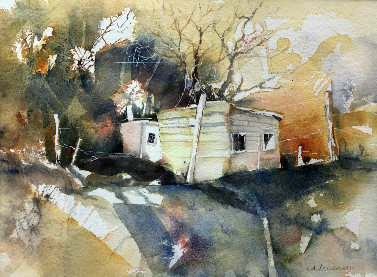 'The Yellow Shed', Val Morsman, Watercolour on paper, 24 x 31 x 1.5 cm
