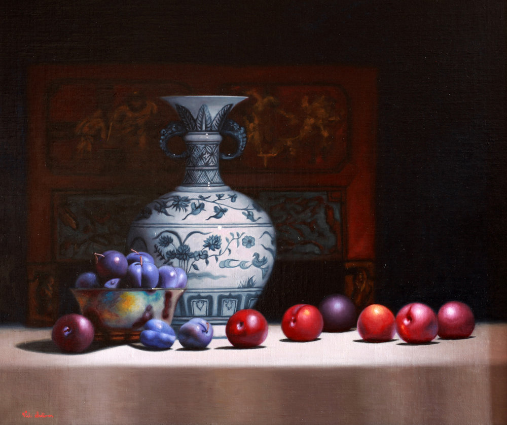 'Blue Plums with Chinese vase', Vicki Sullivan, Oil on belgian linen, 58 x 70 cm