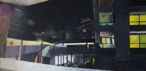 'Barbican (at night)', Victoria Dale, Acrylic on canvas, 50 x 100 x 3 cm