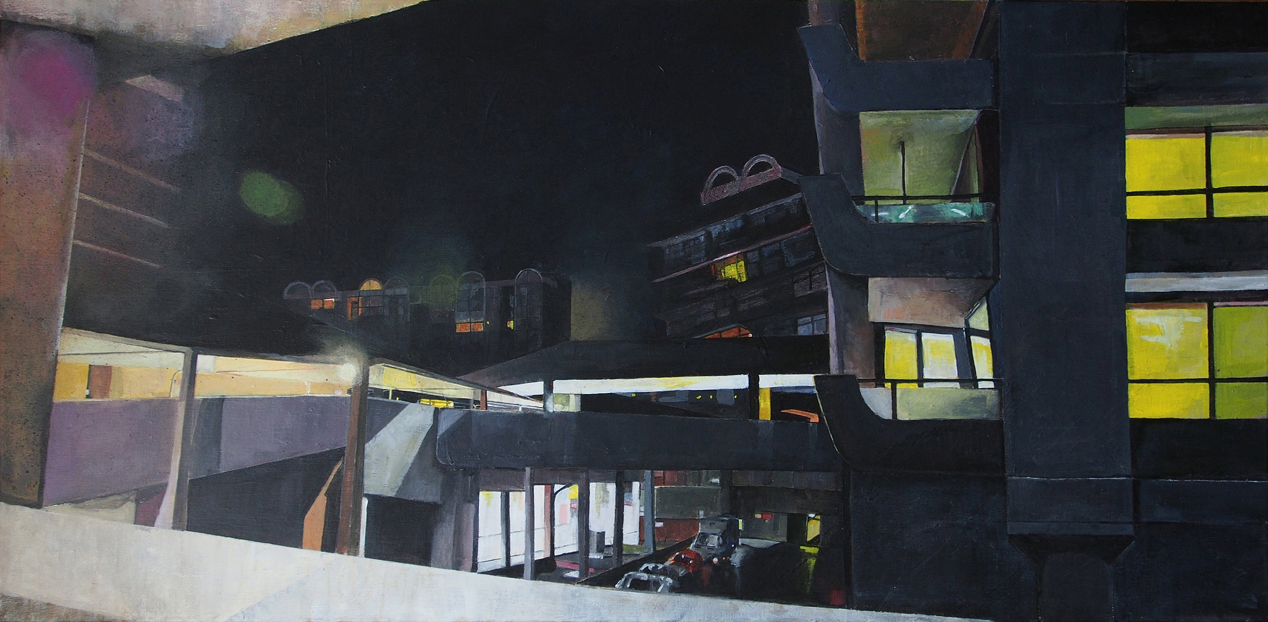 'Barbican (at night)', Victoria Dale, Acrylic on canvas, 50 x 100 x 3 cm