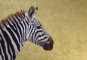 'Zebra #1', Victoria Heald, Oil and light-reflective gold acrylic on board, 45 x 60 x 4 cm