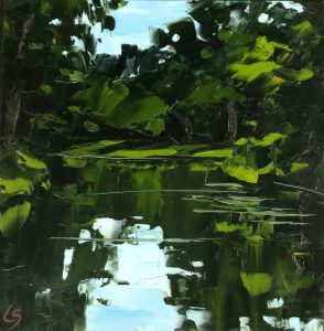 'Waterside', Lesley Skeates, Oil paint applied with palette knife on panel, 30.5 x 30.5 cm
