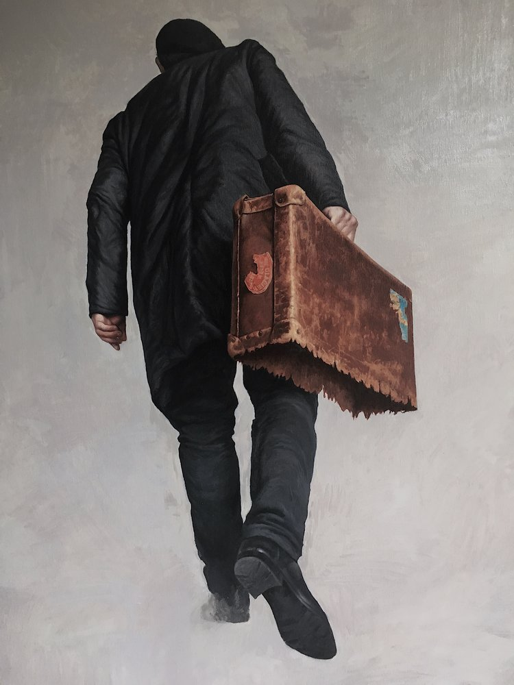 'Emigrant', Agim Sulaj, Oil on canvas, 120 x 80 cm