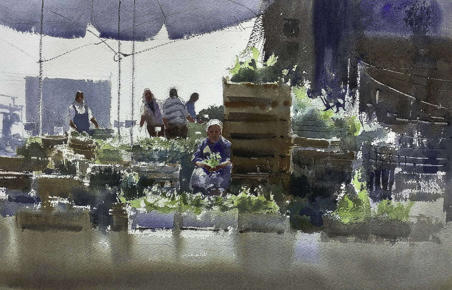 'The Market', Massimiliano Iocco, Watercolour, 30 x 40 cm
