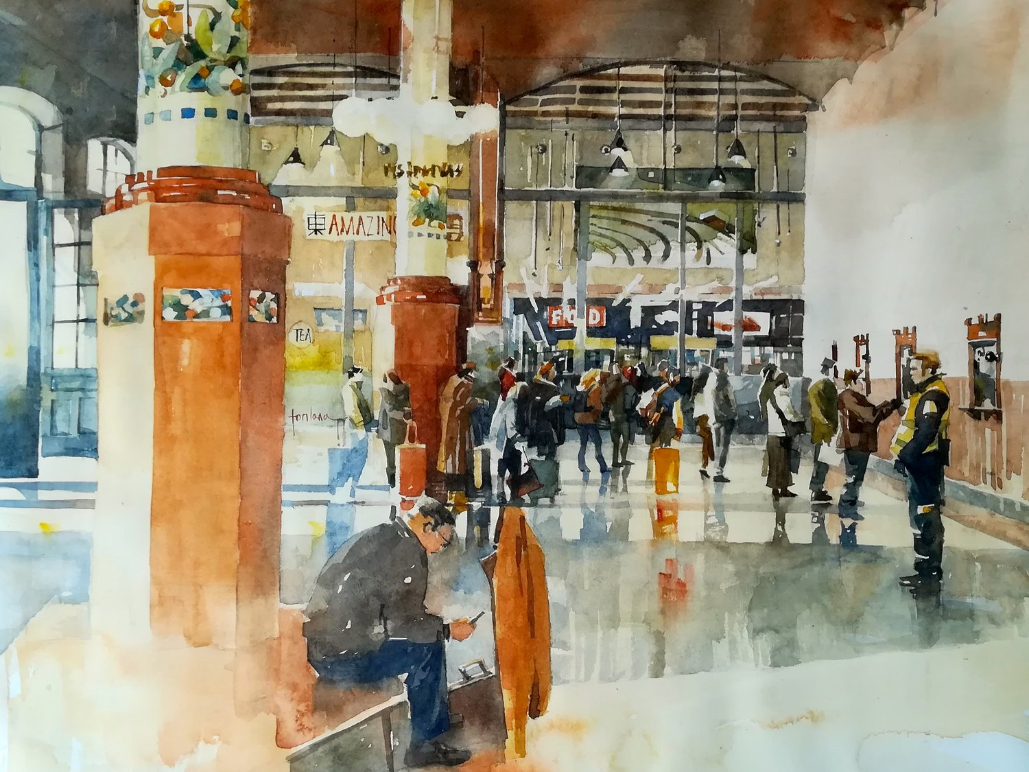 'Leaving Valencia', Francesco Fontana, Watercolor, 36 x 46 cm