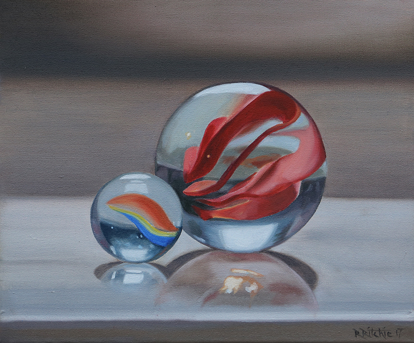 'Marble duo', Rebecca Ritchie, Oil on canvas, 30 x 25 x 1.5 cm