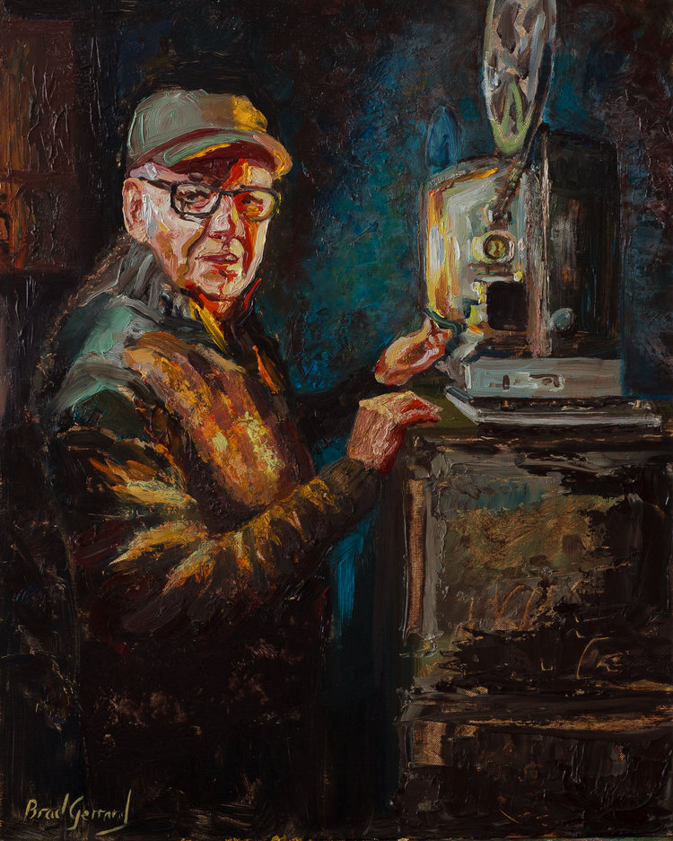 'Ron the projectionist', Brad Gerrad, Oils, 40 x 50 cm