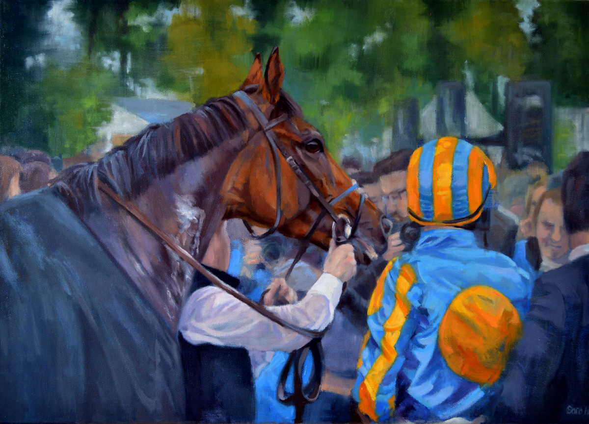 'Winners Enclosure', Sara Hodson, Oil on canvas, 50 x 70 x 2 cm