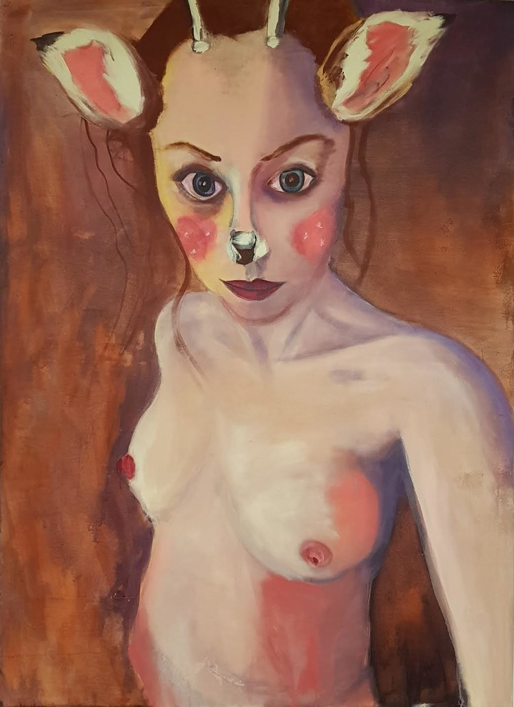 'Selfie with Animated Fawn Mask', Rhiannon Salisbury, Acrylic on cotton stretched canvas, 160 x 120 x 2 cm