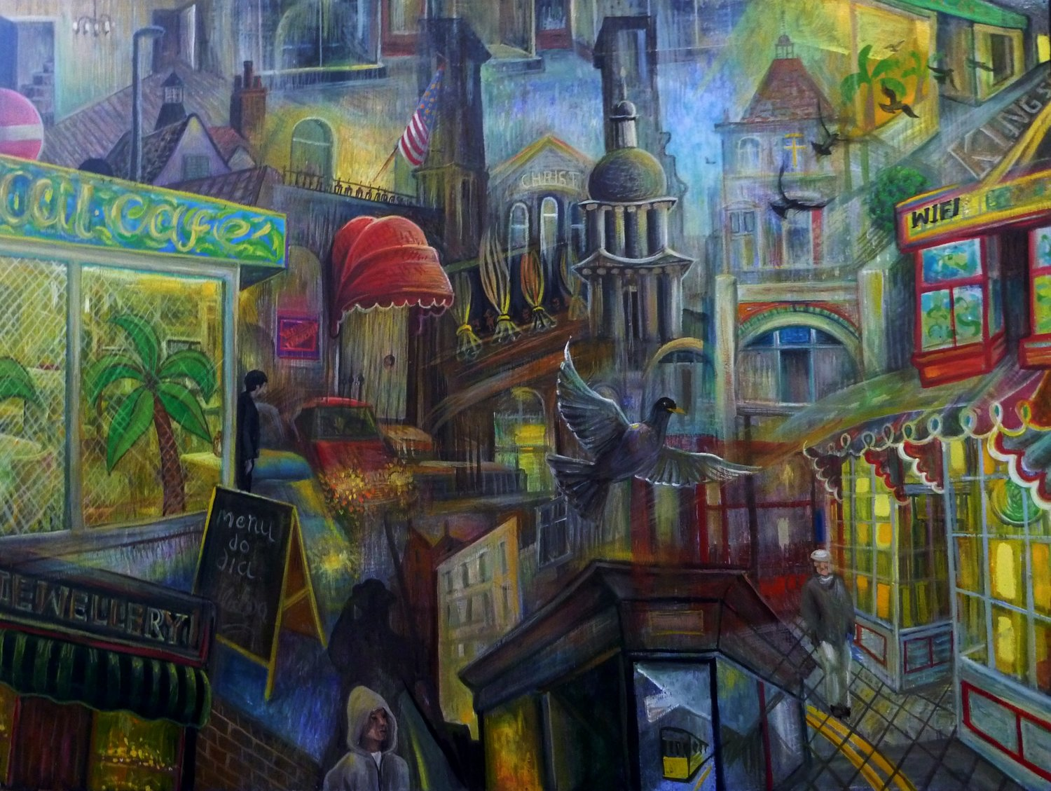 'Walking through the street the other day', Peter Rodulfo, Oil on wood, 92 x 122 cm