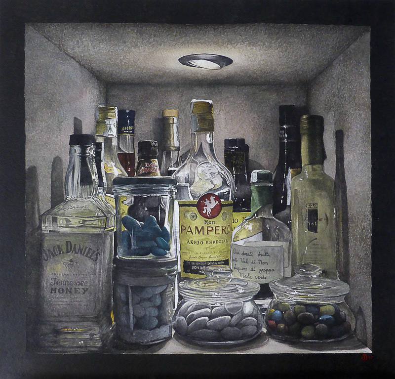 'Welcome to my personal bar', Giovanni Balzarani, Watercolour on paper, 38 × 38 cm