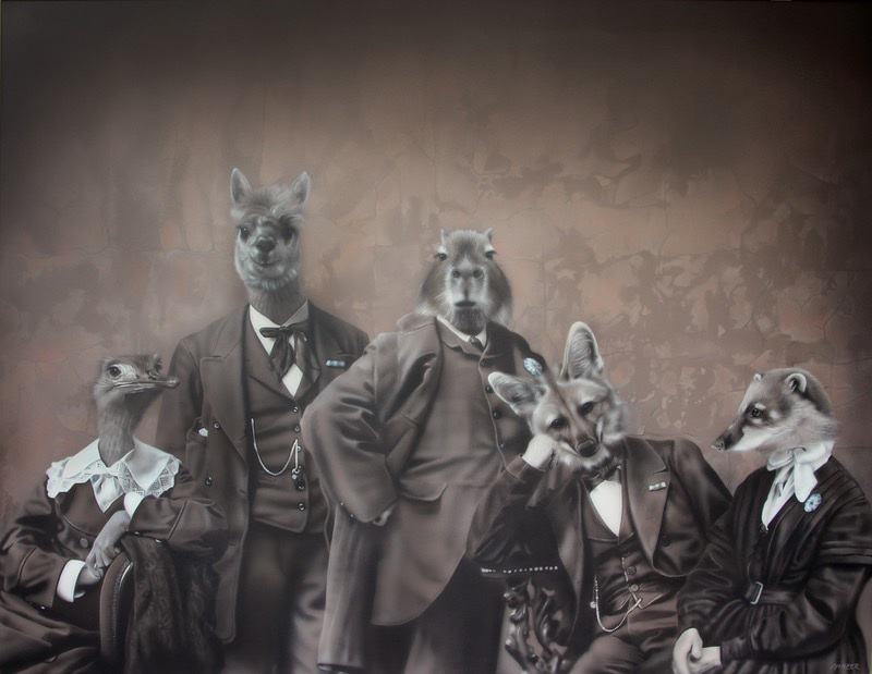 'La tertulia / The gathering', Gisela Banzer. Acrylic on canvas, 100 x 130 cm