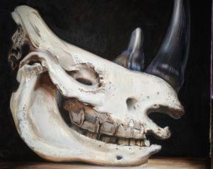 'White rhino. Extinct 2018', Alexandra Suvorova, Oil on canvas, 100 x 100 cm