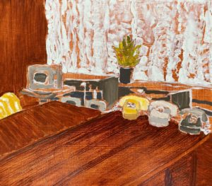 'Drei Telefone und Fernseher (Three Phones and TV)', Amy Robson, Oil on board, 35 x 40 cm