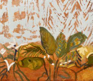 'Pflanzen und Netzvorhänge (Plants and Net Curtains)', Amy Robson, Oil on board, 35 x 40 cm