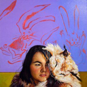 'Lynx and the Maiden', Anastasia Russa, Oil on wood, 30 x 30 cm